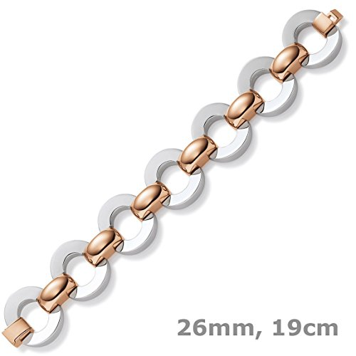 26 Mm les bracelets bracelet fantaisie en or blanc 585 & or rose 19 cm