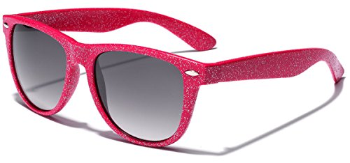 Colorful Retro Fashion Ladies Glitter Sunglasses - Pink