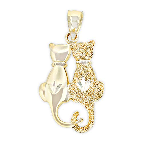 (Charm America - Gold Sitting Cats Charm - 14 Karat Solid Gold)