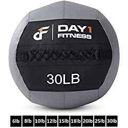 Day 1 Fitness Soft Wall Medicine Ball 30 Pounds - for Exercise, Physical Therapy, Rehab, Core Strength, Large Durable Balls for TRX, Crossfit, Floor Exercises, Stretching