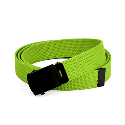 Hold'Em Military Canvas Webbing Belts for MEN'S–Black Buckle – Universal Heavy Duty Adjustable KEEP PANTS SNUG WITHOUT IRRITATING your skin-Lime Green