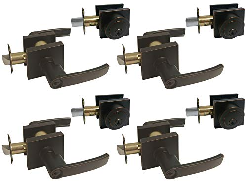Dark Oil Rubbed Bronze Square Straight Corner Plate Entry Entrance keyed Levers with Matching Single Cylinder Deadbolts Combo Keyed Alike 8048DBR (4 Set)