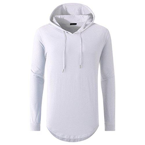 UNRESTRAINED Mens Hipster Longline Hoodies Side Zipper Top Tee White - Zipper White