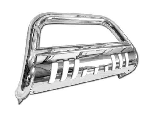 AutobotUSA HD Heavy Duty Steel Bull Bar Brush Push Front Bumper Grill Grille Guard with Chrome Skid Plate For 1997-2004 Dodge Dakota | 1998-2003 Dodge Durango All Models (Outland Front Tube Bumper)