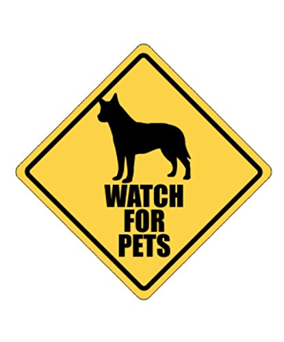 Idakoos - Watch for pets Australian Cattle Dog - Dogs - Crossing Sign (Dog Crossing)