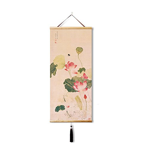 - EAPEY Home Decor Art Landscape Wall Scroll Poster Fabric Painting - Lotus (45X100CM)
