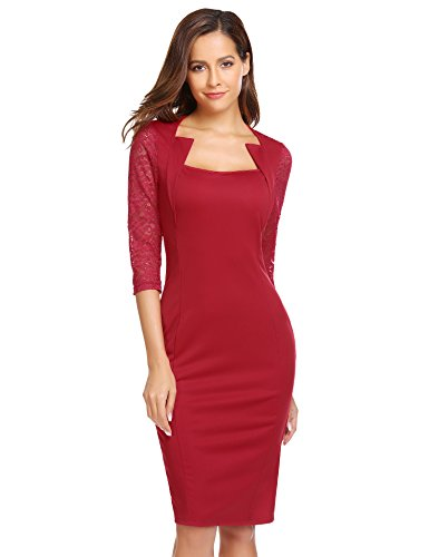 Red Square Neck Dress - 2