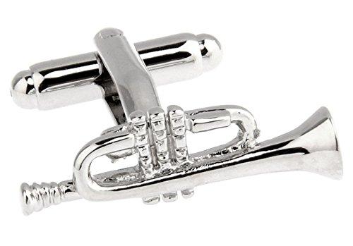 /spediti dal Regno Unito. /ottone rodiato/ Star Cufflinks Un paio di argento unico tromba gemelli con confezione regalo/ /Finitura/
