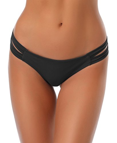 SHEKINI Cheeky Bikini Bottoms Strappy Low Rise Brazilian Thong Swim Shorts for Women (Small/(US 4-6), Manhattan Black)