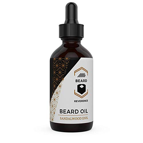 Sandalwood Beard Oil enhanced with Tea Tree & Argan & Jojoba Oil - Large 2oz Size - Conditions and Softens Your Beard for Healthy Beard and Mustache Growth and Care (Tea Tree Beard Oil)