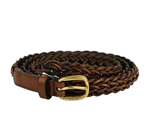 Gucci Women's Braided Leather Belt with Gold Buckle 380607 2535 Brown (32-36 in/80-99 cm) (34/85)