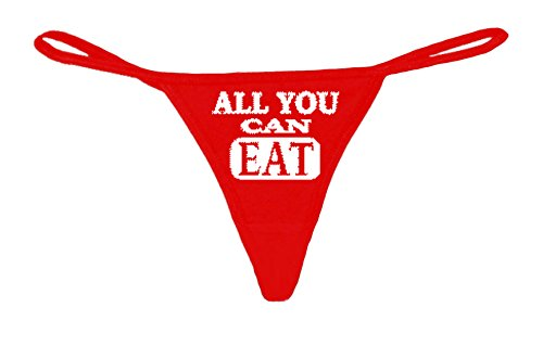 Womens Made in USA Funny Red Thong G-String All You Can Eat Lingerie