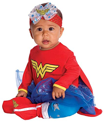 DC Comics Baby Wonder Woman Onesie And Headpiece, Red, Newborn Costume -