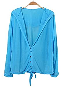 Freedi Women UV Sun Protective Clothing Lightweight Skin Coat Long Sleeve Beachwear Cover Up (Blue)