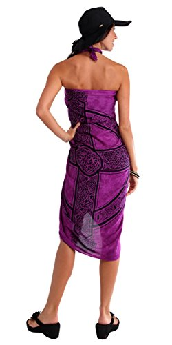 1 World Sarongs Womens Celtic Cover-Up Sarong Celtic Cross 3 in Royal Purple