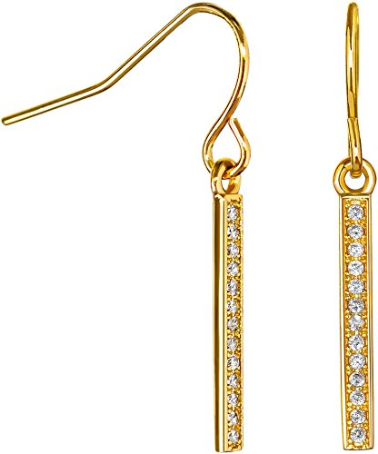 Dangle Earrings Cubic Zirconia: 14k Gold Plated with CZ Vertical Bar Earring for Women Girls Teens by Benevolence LA