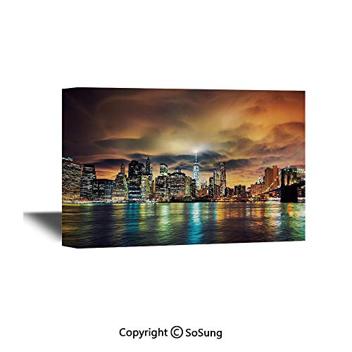City Canvas Wall Art,Fantasy Dramatic Sky in New York at Nighttime Stormy Sunset Vibrant Water Reflections,Modern Living Room Office Wall Art Bedroom Decoration Ready to Hang,24x16 inch (Time Difference From New York To Las Vegas)