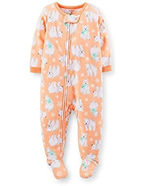 Baby Girls' 1 Piece Fleece Footed Sleeper - Orange - Polar Bear 24 Months