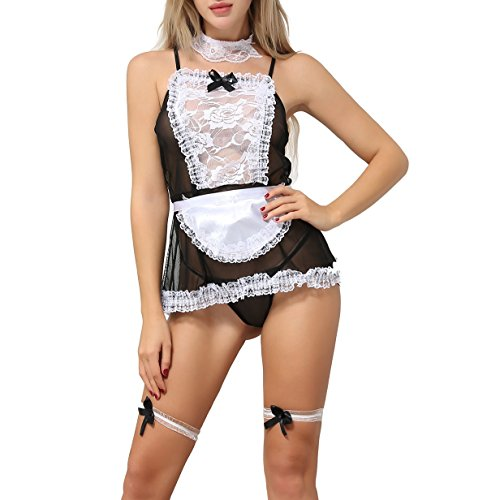 Sexy Costumes - ANJAYLIA Women Lace French Maid Costume Sexy Lingerie Cosplay Set