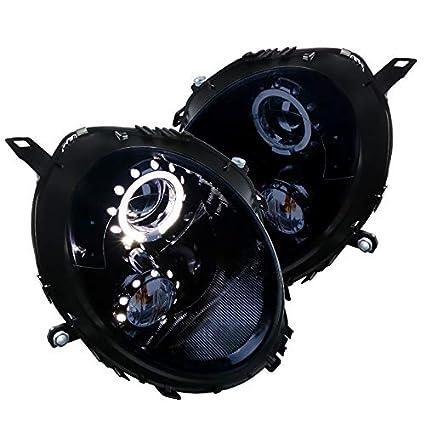 Mini Cooper negro brillante LED Halo borde Proyector Faros ...