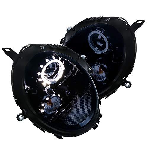 Mini Cooper Glossy Black LED Halo Rim Projector Headlights Smoke Lens Headlamps ()