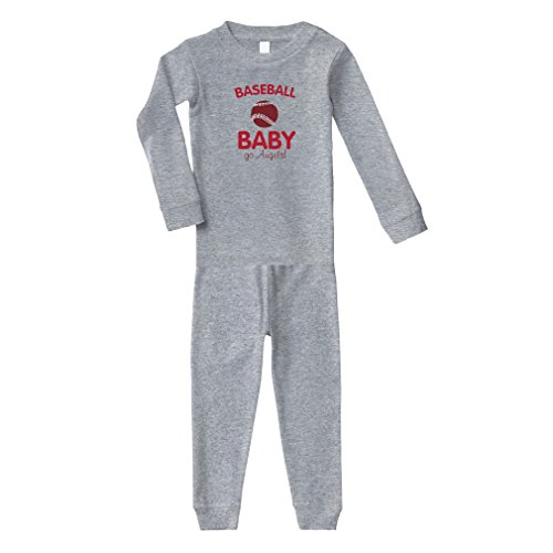 Baseball Baby Fan Go Angels! Baseball Cotton Long Sleeve Crewneck Unisex Infant Sleepwear Pajama 2 Pcs Set Top and Pant - Oxford Gray, 4T