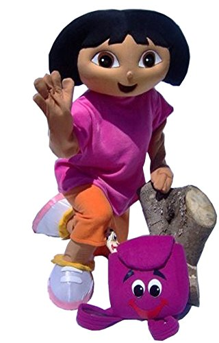JWUP Purple Character Dora the Explorer Mascot Costume for Adult Dora Party Dress
