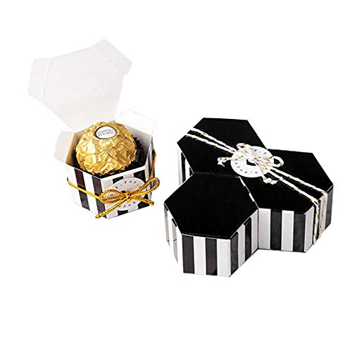 (Black Stripes Candy Box Bulk with Gold Ribbon And Round card,GAKA Hexagon Gold Stripes Style Design For Wedding Candy Box,Baby Shower Box,DIY Chocolate Cookies Case,Birthday Party Supplies pack of 50)