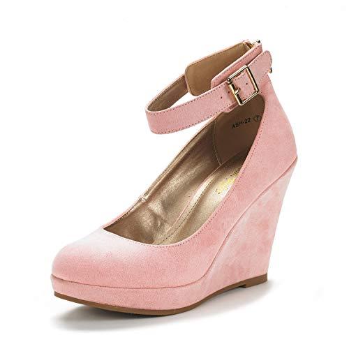 DREAM PAIRS Women's ASH-22 Pink Mary Jane Round Toe Platform Fashion Wedges Pumps Shoes Size 7.5 US