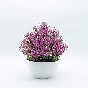 MARJON FlowersArtificial Plastic Mini Plants Unique Fake Fresh Green Grass Flower in Gray Pot 1 109