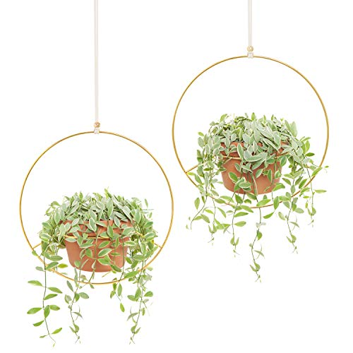 Mkono 2 Pcs Metal Round Hanging Planter Modern Plant Hangers Mid Century Flower Pot Holder Home Decor, Fits 6 Inch Pot, Gold (Pot NOT Included) ()