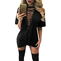 TOB Women's Sexy Halter Lace up Mini T Shirt Club Dress