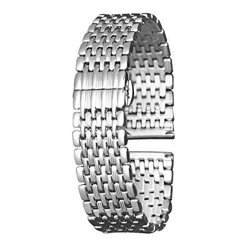 Stainless Steel Watch Bands Ultrathin Watch Strap 12mm 14mm 16mm 18mm 20mm 22mm Double Buckle Bracelet (18mm Steel Buckle)