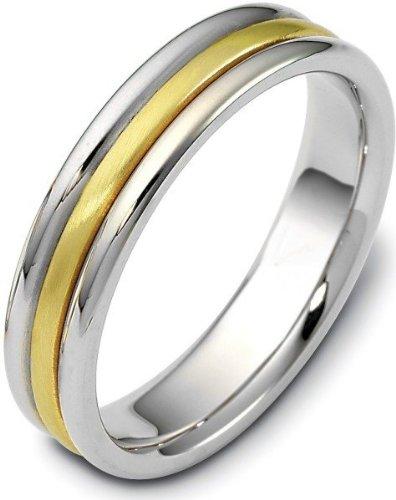 - 5mm Classic 18 Karat Yellow Gold & Titanium Wedding Band Ring - 10