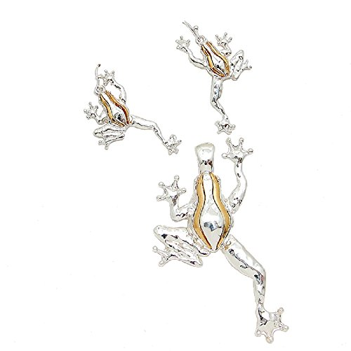 Rose's Gift Store~Fashion Jewelry Frog Two Tone Pendant and Earrings