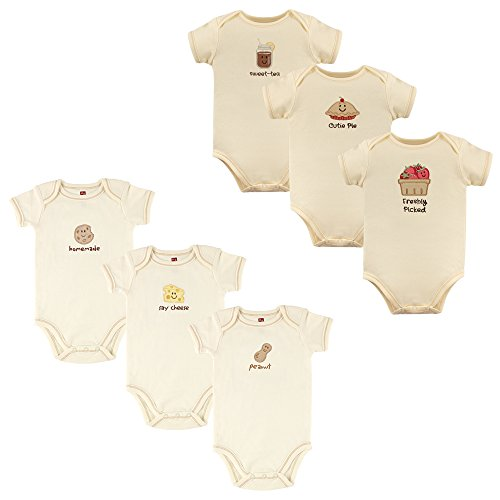 Touched by Nature Baby Organic Cotton Bodysuits, Peanut and Strawberries 6 Pack, 9-12 Months by Touched by Nature