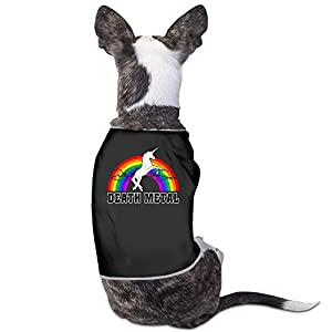 whatnumberisp Doggie Clothes – Death Metal Unicorn Rainbow Doggie T Shirts