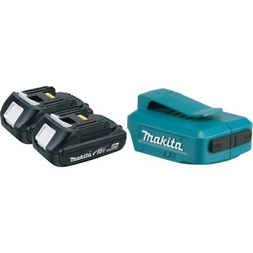 Makita BL1820-2 18V Compact Lithium-Ion 2-Pack 2.0Ah Battery with ADP05 18V LXT Lithium-Ion Cordless Power Source by Makita
