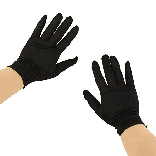 Men's Matte Nylon Stretchy Wrist Plain Blank Thin Uniform Gloves 1 Pair