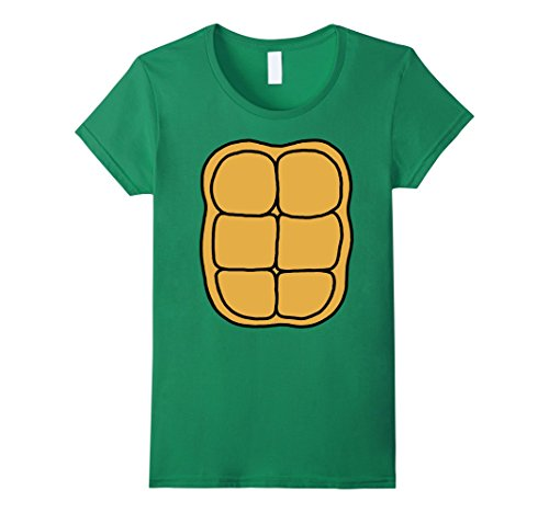 Womens Shell Green (Womens Turtle Shell Shirt KIDS DIY Halloween Costume FRONT + BACK Large Kelly Green)