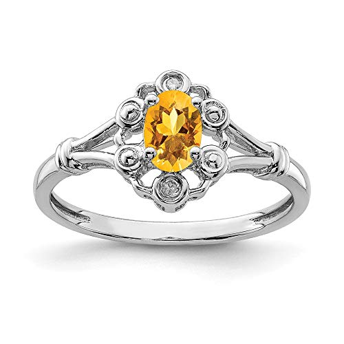 925 Sterling Silver Yellow Citrine Diamond Band Ring Size 6.00 Set Birthstone November Gemstone Fine Jewelry Gifts For Women For Her