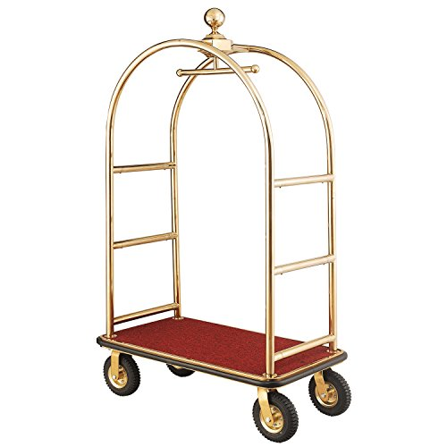 "Gold Stainless Steel Bellman Cart Curved Uprights 8"" Pneu. Casters, 41-1/4""L x 24""W x 75""H"