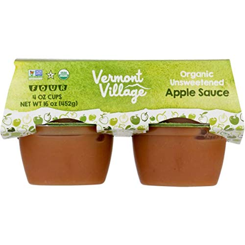 Vermont Village Unsweetened Organic Apple Sauce, 4 oz Cups, 48 ()