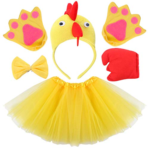 Kids Animal Costume Ears Headband Glove Bowtie Tail Tutu Set Fancy Dress Up Outfit Birthday Party Cosplay Halloween Costume for Girls (Chicken) (Best Chickens For Children)