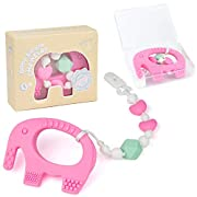Teething Pain Relief Toy and Universal Pacifier Clip for Stylish Little Girls - Pink Elephant Teether and Binky Holder Set - Best Unique Gift for Baby Shower - Food Grade BPA Free Silicone