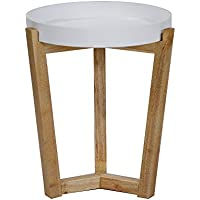 Heather Ann Creations Euro Collection Modern Tri Leg Round Accent Table, 19.7 Tall, White