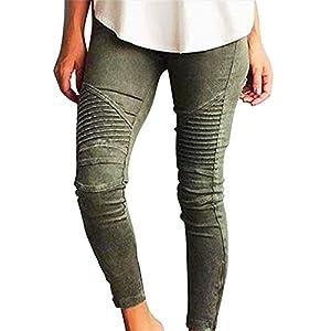 Hslieey Women Jeans Skinny Stretch Moto Biker Jeans Boyfriend Pants Slim Fit