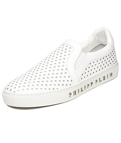 Philipp Plein Absense Men's Metal Logo Detail Star Perforated Real Leather Slip-Ons
