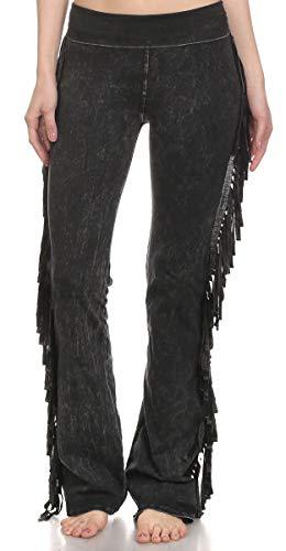 T Party Women's Fringe Leg Mineral Wash Yoga Pants (Small, - Fringe Fancy