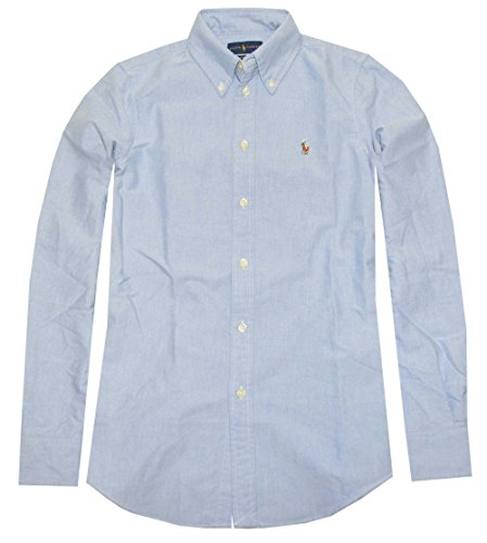 Polo Ralph Lauren Womens Custom Fit Oxford Button Down Shirt, Blue, M
